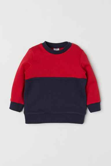 Cotton sweatshirt - Red/Dark blue -  | H&M