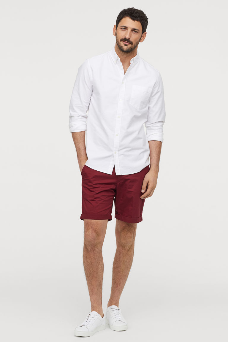 Chino shorts - Dark red - Men | H&M IN