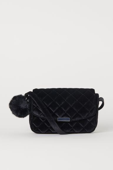 Velour shoulder bag - Black - Ladies | H&M