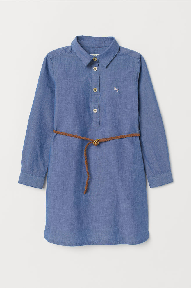 Dress with Belt - Blue/chambray - Kids | H&M US 1