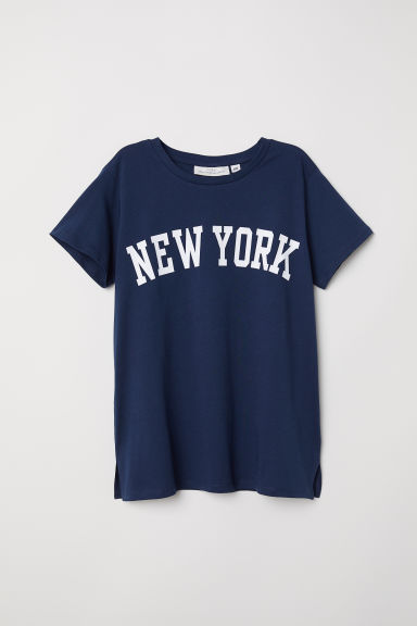 T-shirt met print - Donkerblauw/New York - DAMES | H&M BE