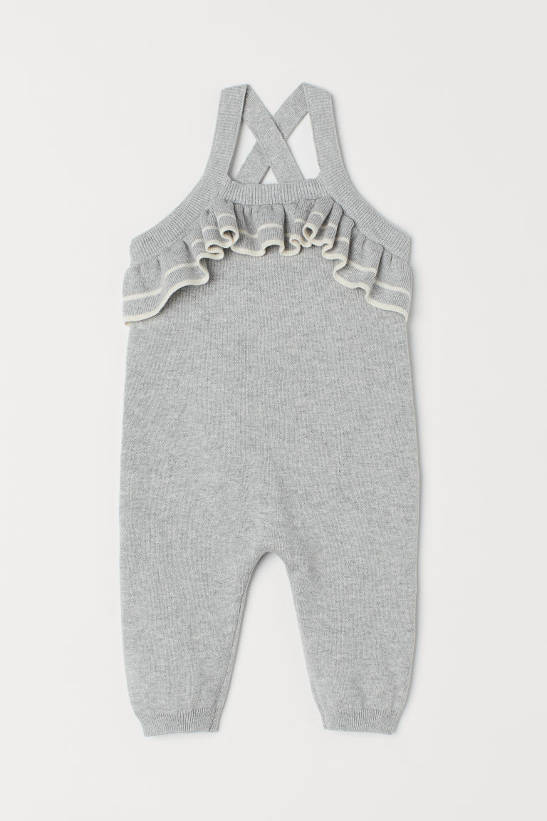 Knitted cotton dungarees - Grey marl - Kids | H&M CN