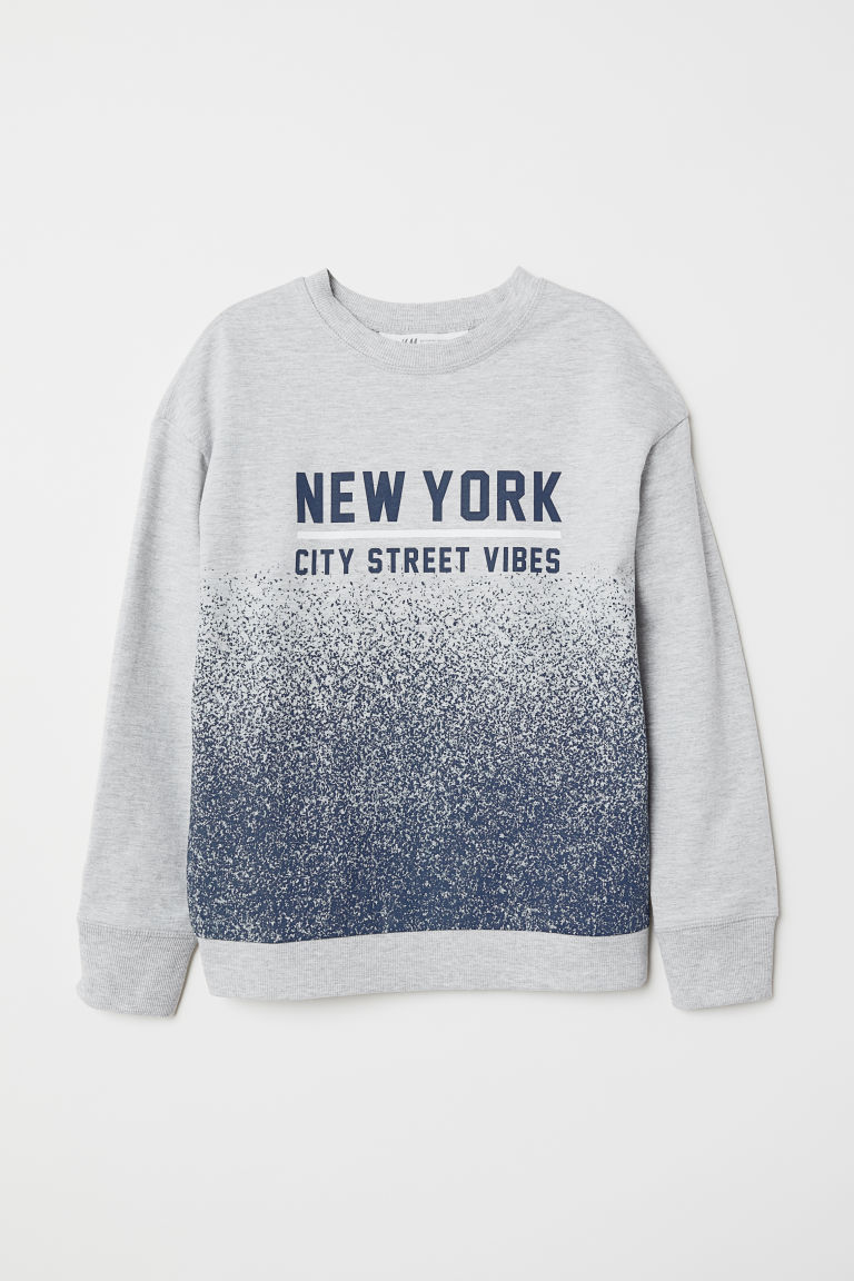 Printed sweatshirt - Light grey marl/New York - Kids | H&M GB