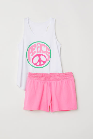 Jersey pyjamas - White/Peace -  | H&M