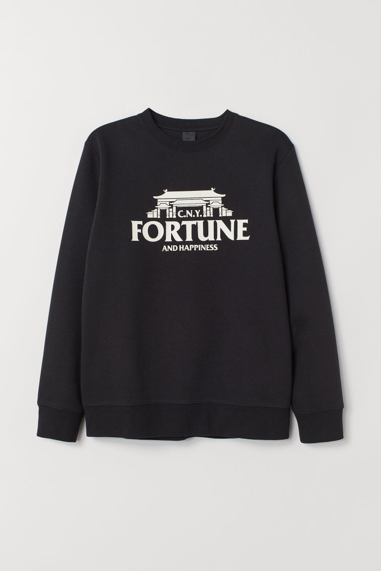 Sweat-shirt avec motif - Noir/Fortune and Happiness - HOMME | H&M BE