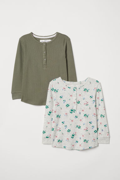 2-pack tops with buttons - Khaki green/Light grey marl - Kids | H&M