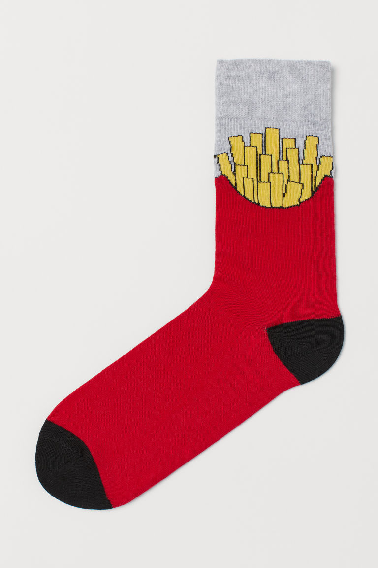Patterned Socks - Red/French fries - Men | H&M US