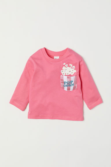 Long-sleeved jersey top - Pink - Kids | H&M CN