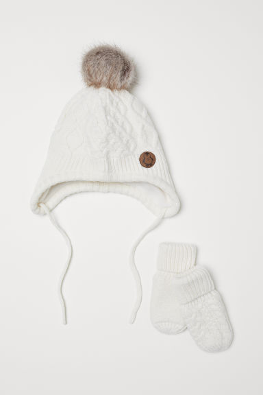 Hat and mittens - Natural white -  | H&M