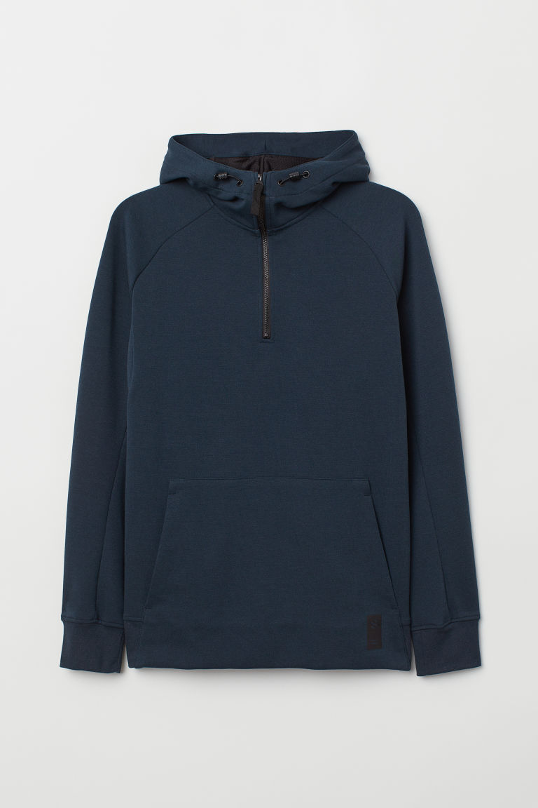 Hooded sports top - Dark blue - Men | H&M CN