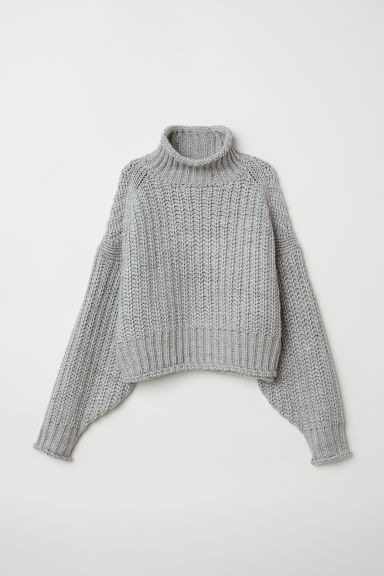 Ribbed polo-neck jumper - Light grey - Ladies | H&M IN