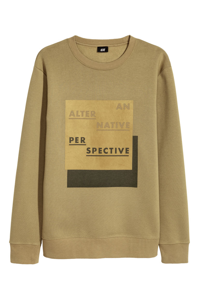 137b3938 Sweatshirt with Motif - Olive green - Men | H&M US