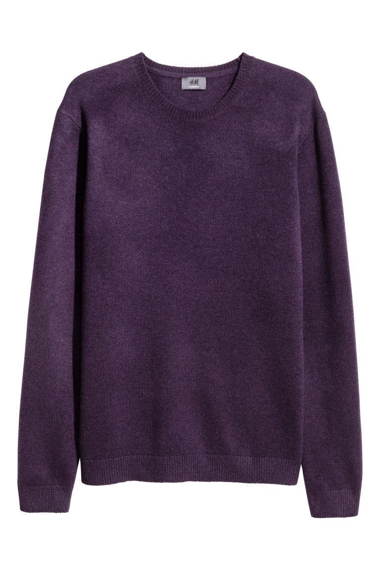 elfogadható árú részletezve hatalmas készlet Báránygyapjú pulóver - Sötétlila melír - FÉRFI | H&M HU