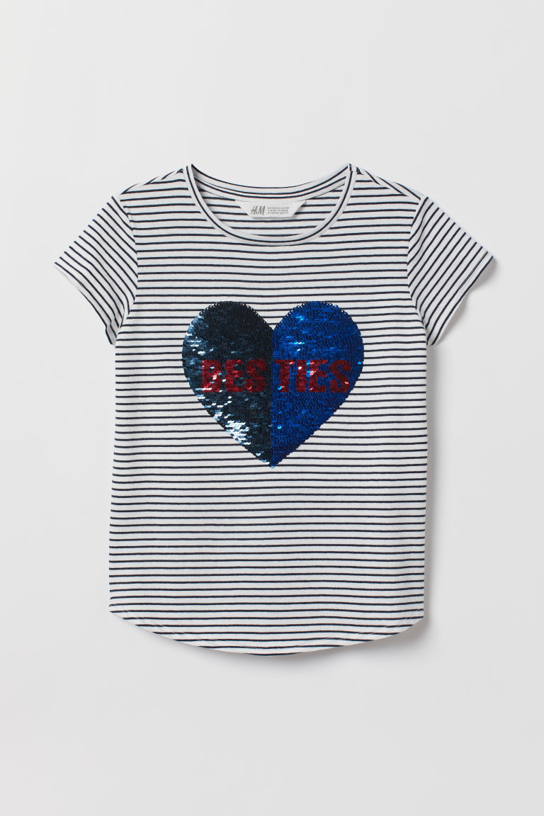 Reversible sequin T-shirt - White/Besties - Kids | H&M IE