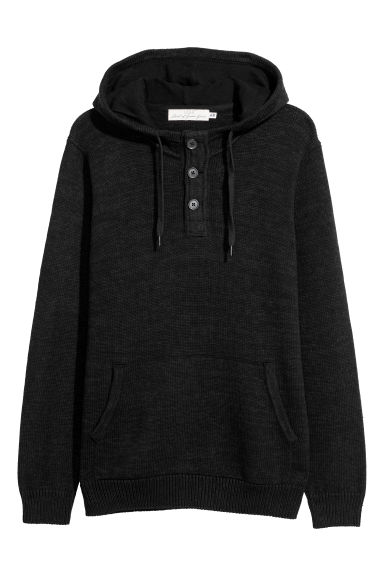 Fine-knit cotton hooded jumper - Black -  | H&M CN