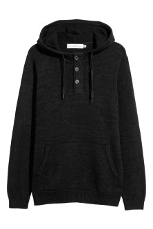 Hooded fine-knit cotton jumper