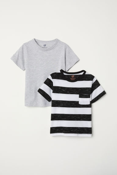 2-pack T-shirts - Grey marl/Black striped - Kids | H&M
