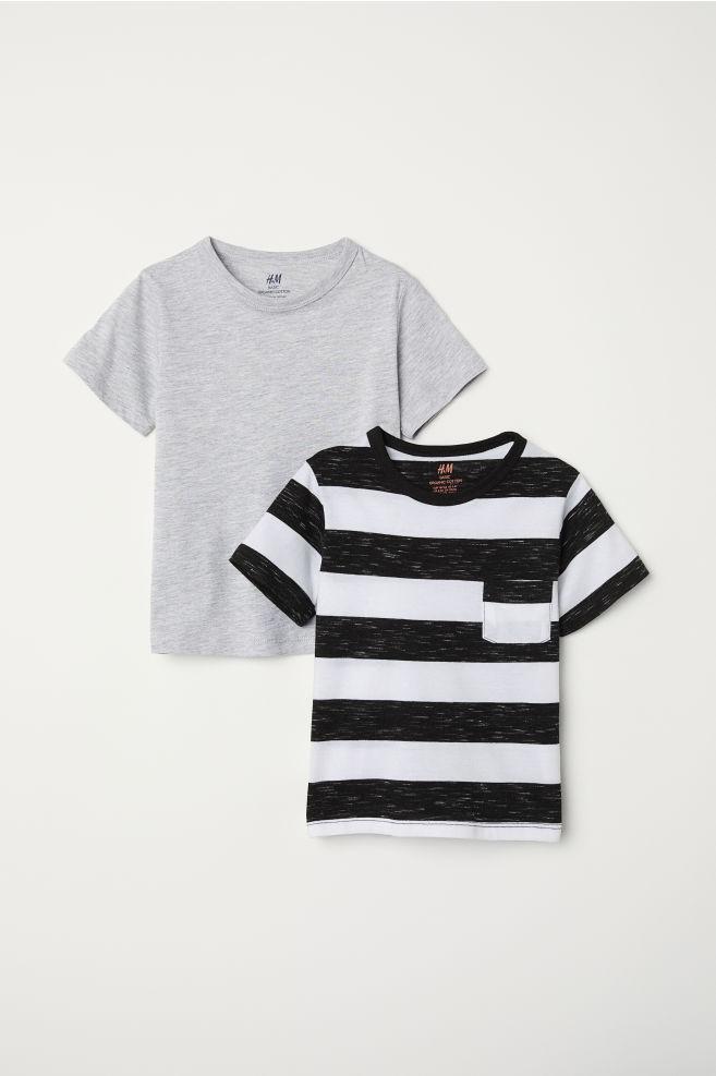 45fa2f1f2 Pack de 2 camisetas - Gris jaspeado Rayas negras - NIÑOS