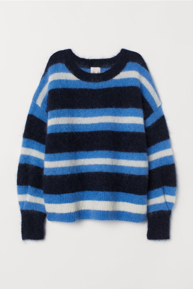 996afabe Strikket genser i ullmiks - Mørk blå/Stripet - DAME | H&M ...