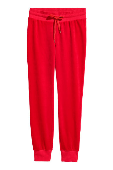 Velour joggers - Red - Ladies | H&M GB
