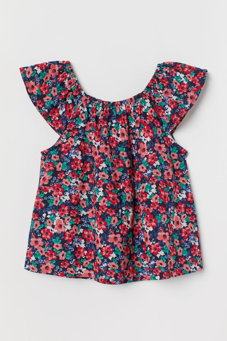 Patterned Cotton Blouse - Dark blue/pink floral - Kids | H&M CA