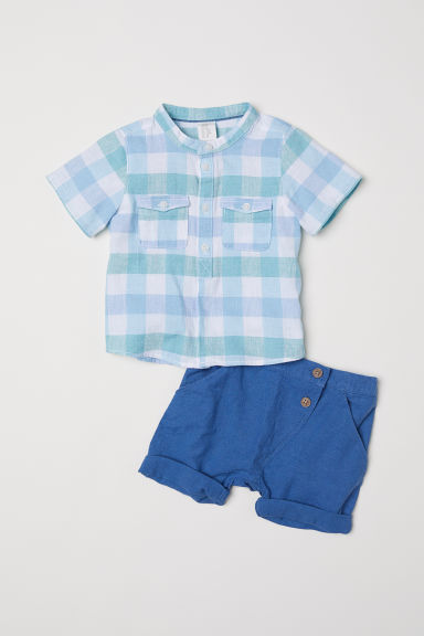 Grandad shirt and shorts - Light green/Checked -  | H&M CN