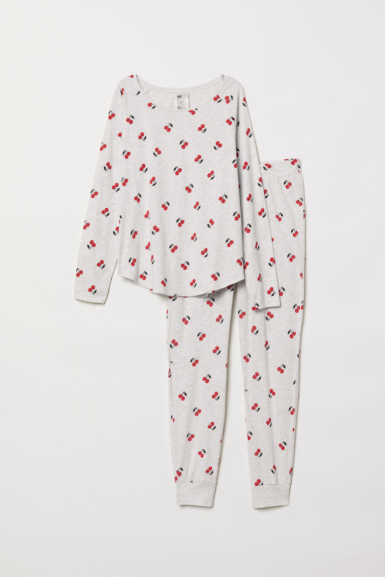 Pajama Top and Pants - Light gray/cherries - Ladies | H&M CA