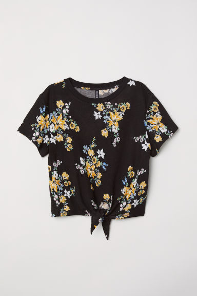 Tie-hem T-shirt - Black/Floral - Ladies | H&M CN