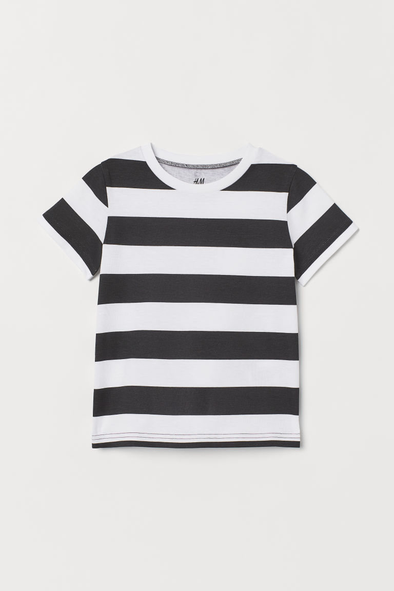 Patterned T-shirt - Black/White striped - Kids | H&M CN