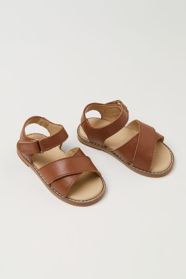 Leather sandals - Brown - Kids | H&M CN