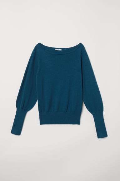 Fine-knit jumper - Dark petrol - Ladies | H&M CN