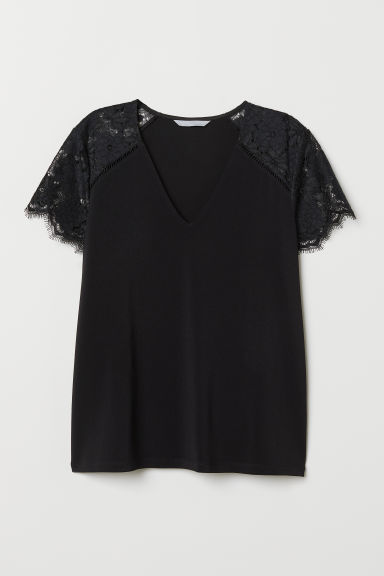 Top with lace - Black - Ladies | H&M CN