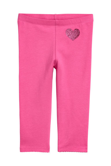3/4-length leggings - Cerise/Glittery heart - Kids | H&M