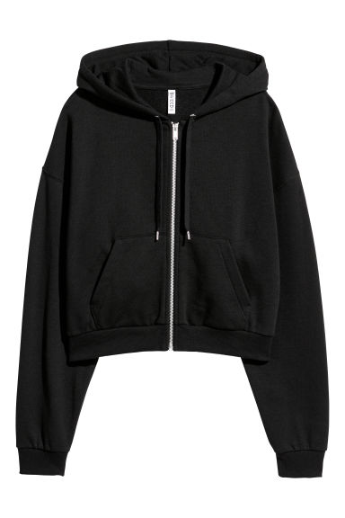 Short hooded jacket - Black -  | H&M