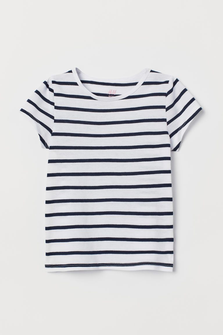 Top with puff sleeves - White/Blue striped - Kids | H&M CN