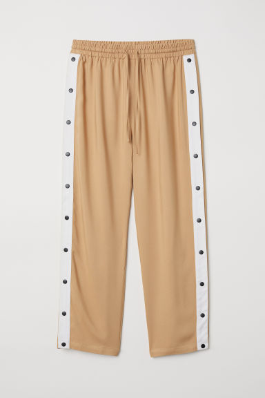 Wide trousers with press-studs - Beige - Ladies | H&M CN