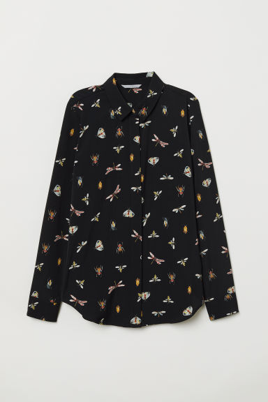 Long-sleeved blouse - Black/Insects - Ladies | H&M GB
