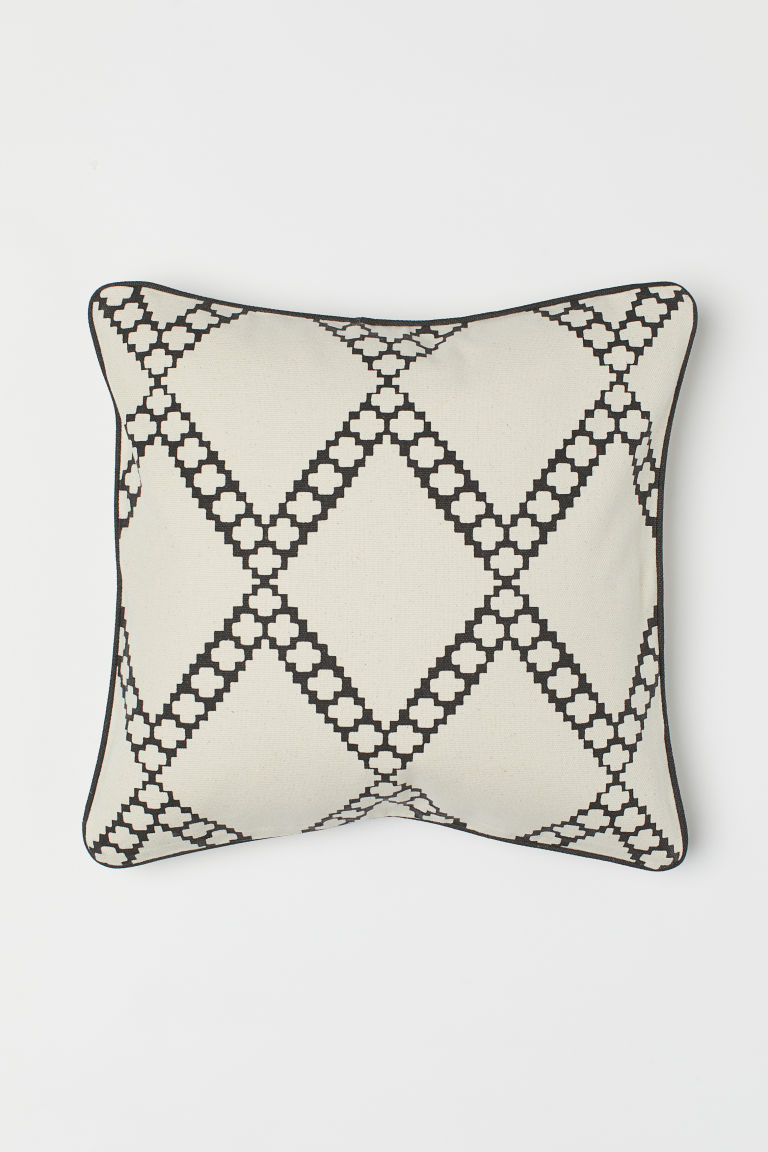 Patterned cushion cover - Light beige/Patterned - Home All | H&M CN