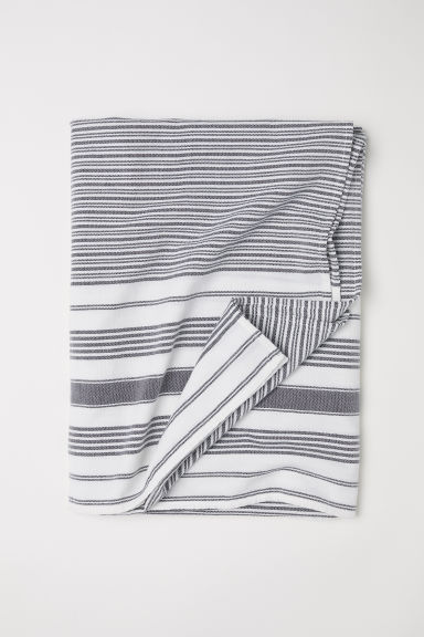 Mantel de algodón rayado - Dark grey/White striped - Home All | H&M US