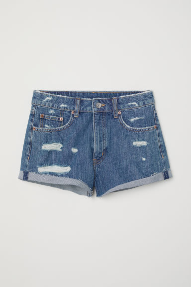 Denim shorts - Denim blue/Trashed -  | H&M