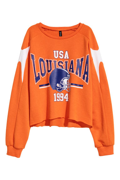 Sweatshirt med tryck - Orange/Louisiana - DAM | H&M SE