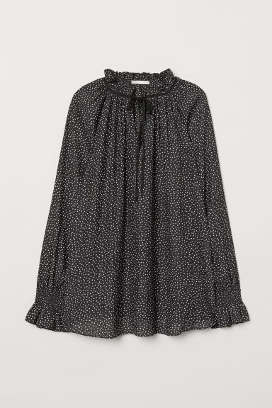 MAMA Blouse with smocking - Black/Spotted - Ladies | H&M CN