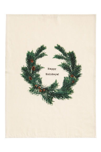Christmas-print tea towel - Natural white/Pine needles - Home All | H&M IE