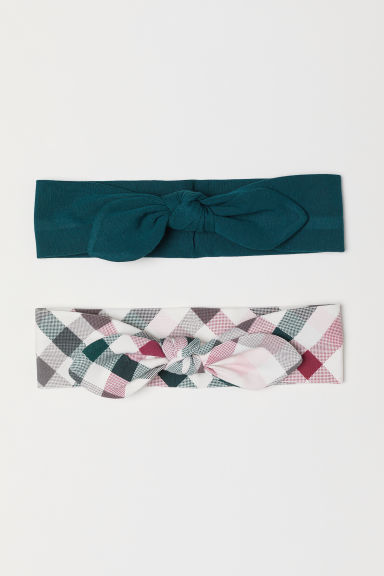 2-pack hairbands with a bow - Dark green/Checked - Kids | H&M