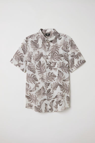 Cotton shirt Regular Fit - White/Leaf-patterned - Men | H&M