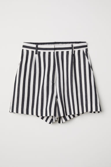 Striped shorts - White/Black striped -  | H&M GB