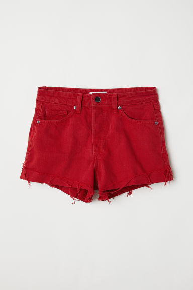 Denim shorts - Red -  | H&M