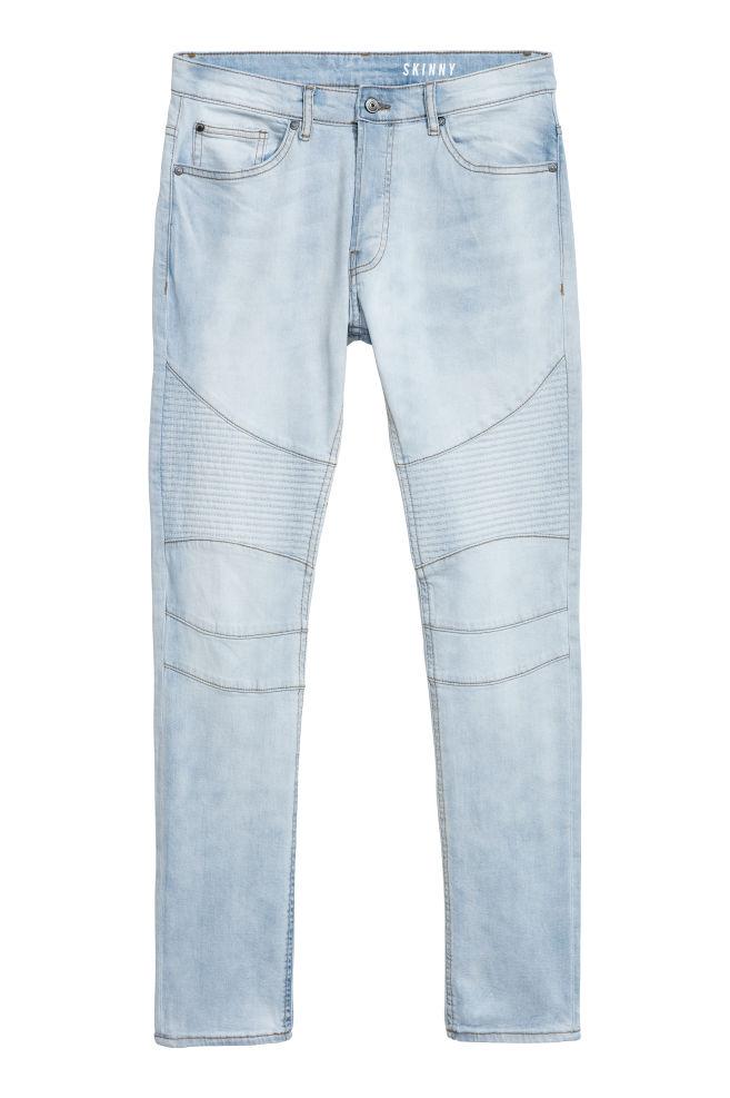 Populair Biker Jeans - Light blue denim - Men | H&M US @YV74