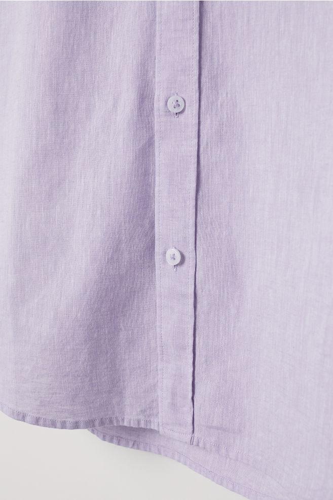 18dfa8b2c Slim Fit Linen-blend Shirt - Light purple - Men | H&M ...