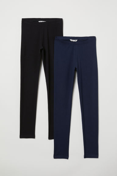 2-pack leggings - Dark blue/Black - Kids | H&M